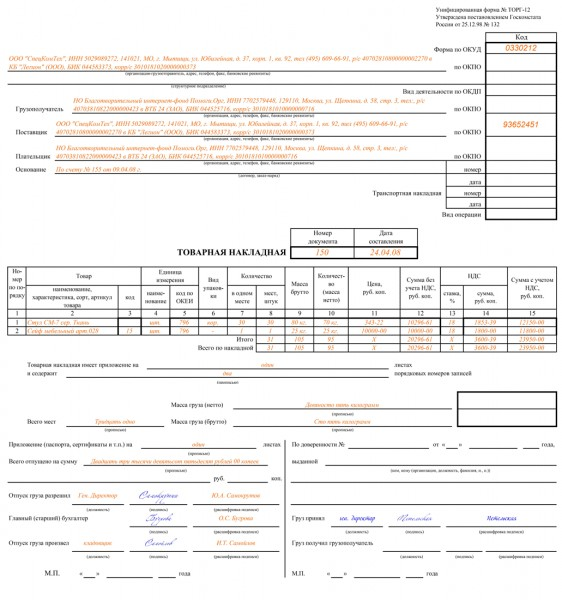 спецификация к товарной накладной образец